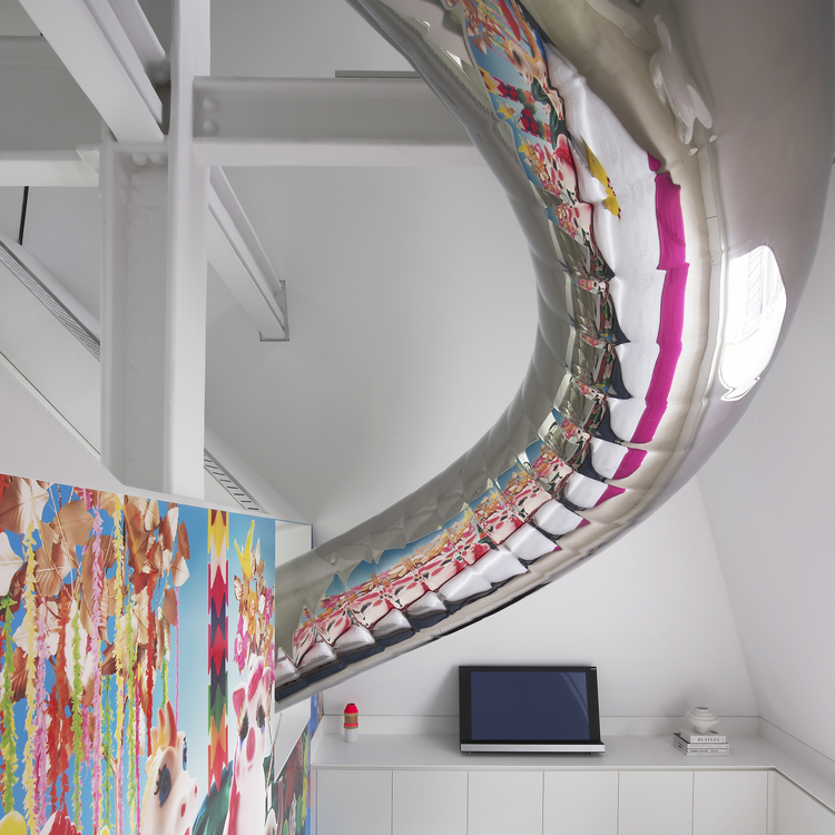 Kids Rooms Climbing Walls And Contemporary Schemes: Metallic Tubular Slide Passing Through Bedroom With