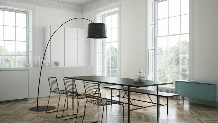 Minimal Dining With Arc Floor Lamp In Black Interior