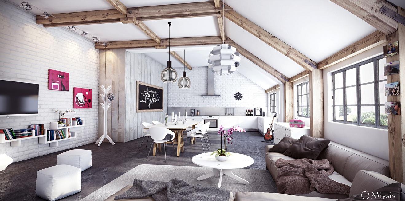 Miysis Painted White Exposed Brick Interior With Exposed