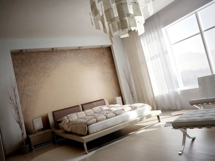 Muted Bedroom With Modern Light Fixture And Quilted