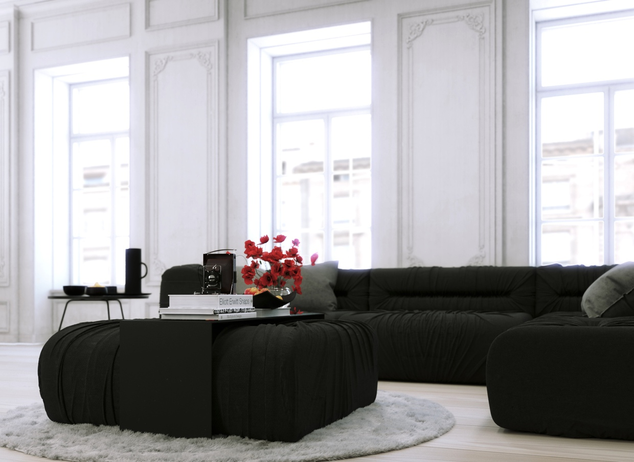 Parisian Apartment Monochrome Living With White Walls And Black Corner Loungeinterior Design Ideas