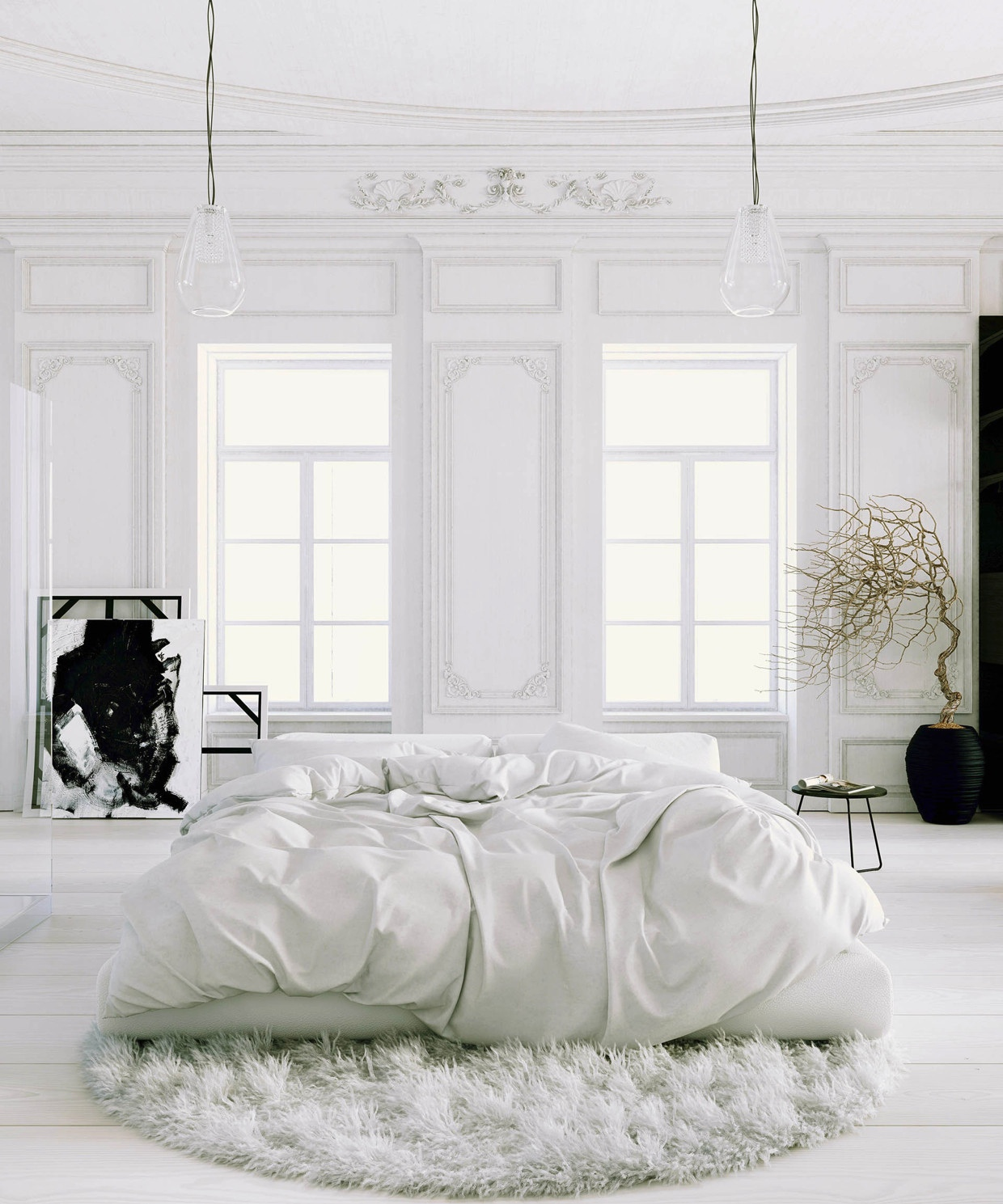 Parisian Apartment- soft white bedroom with black accents ...