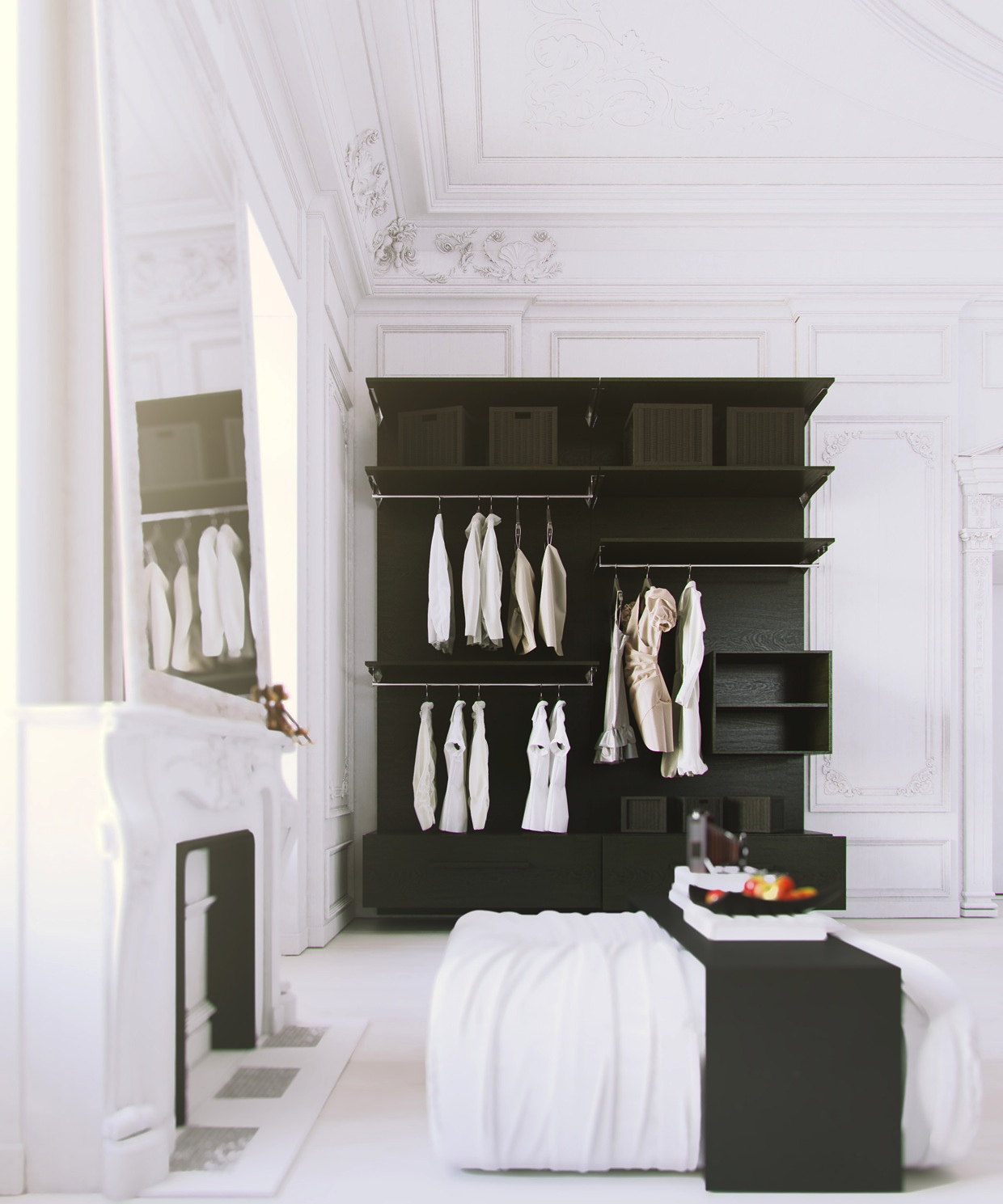 Bedroom Interior Design Black And White Bedroom Ceiling Design In India Wall Decor For Mens Bedroom Sherwin Williams Bedroom Paint Ideas: Scandinavian & Parisian Apartments In White