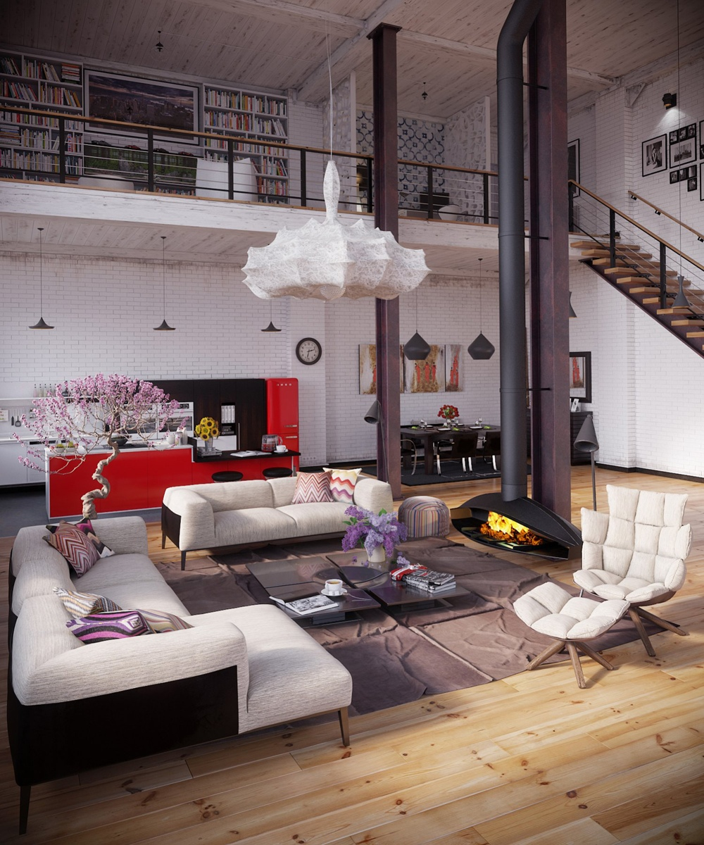 Rip3d industrial loft organic industrial loft with organic traits