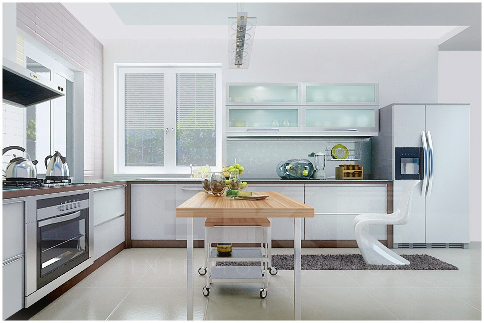 Sleek Ideas For Kitchen Design With Islands: Tuananh Eke's Modern White Kitchen With Blonde Wood Island