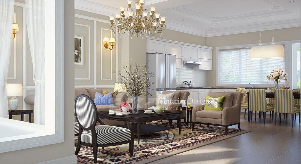 Tuananh eke s open plan yet formal lounge dining kitchen - Art deco decorating ideas ...