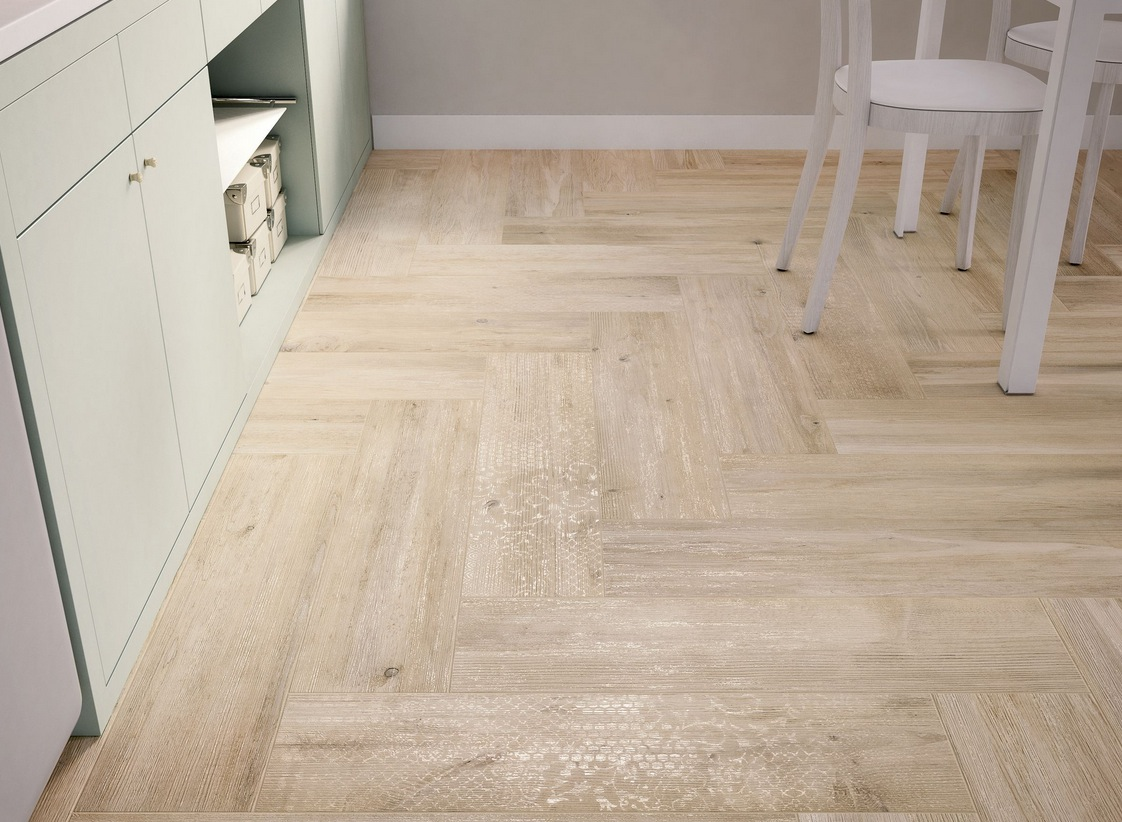 Light Wooden Tiled Kitchen Floor White Interior Design
