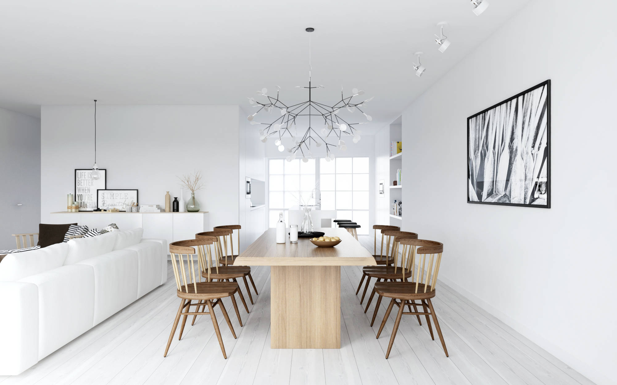 Atdesign nordic style dining in monochrome and wood