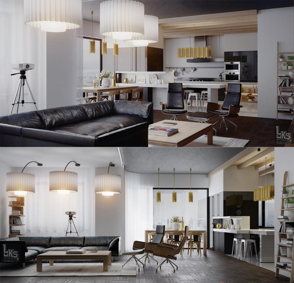 Leks Architects Kiev Apartment Open Plan Kitchen Dining Living