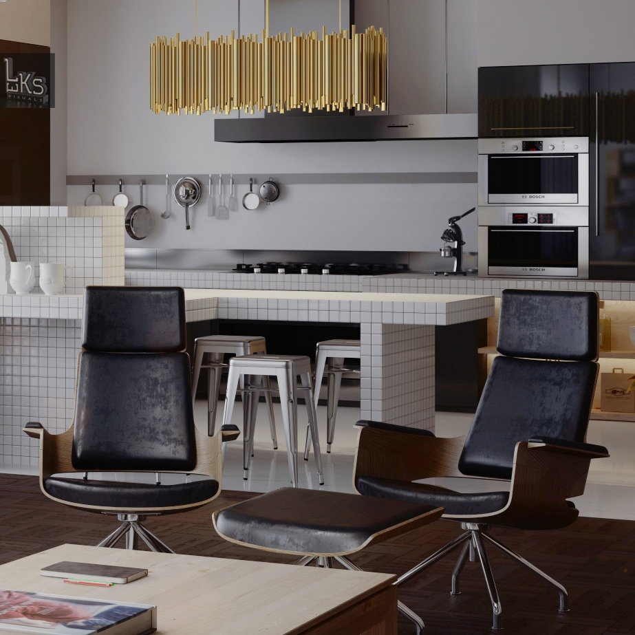 Open Plan Kitchen And Lounge: Worldly Apartment In Kiev, Ukraine [Visualized]