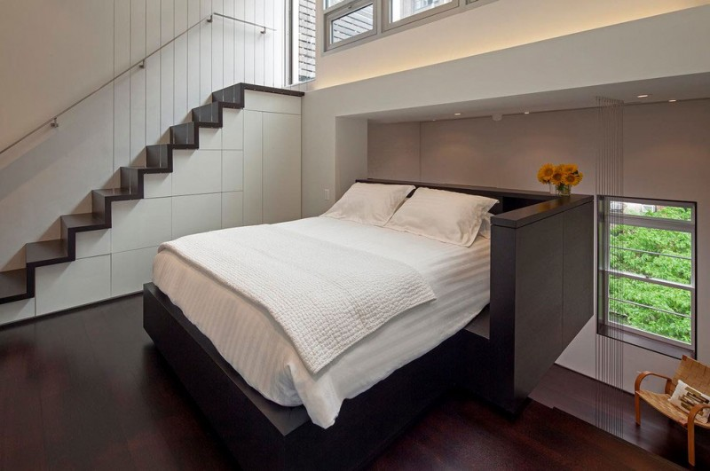 Manhattan micro loft cantilevered bedroom perfectly planned pied terre