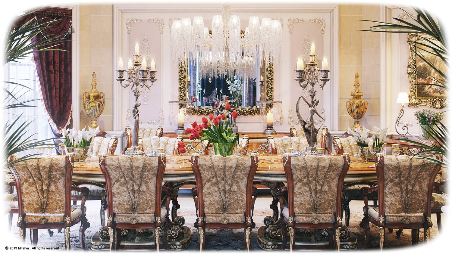 luxurious dining rooms | Luxury Villa in Qatar [Visualized]