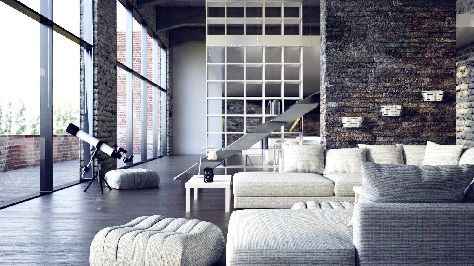 Two beautiful urban lofts visualized - Modern industrial interior design ...
