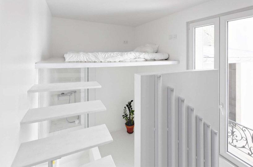 Modern paris apartment loft tiny parisian studio apartment uses innovative lighting techniques