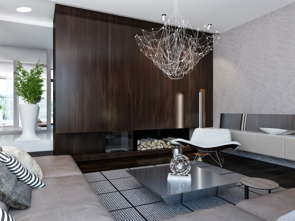 A spiderweb like chandelier offers tiny points of light and a unique design element in the living room