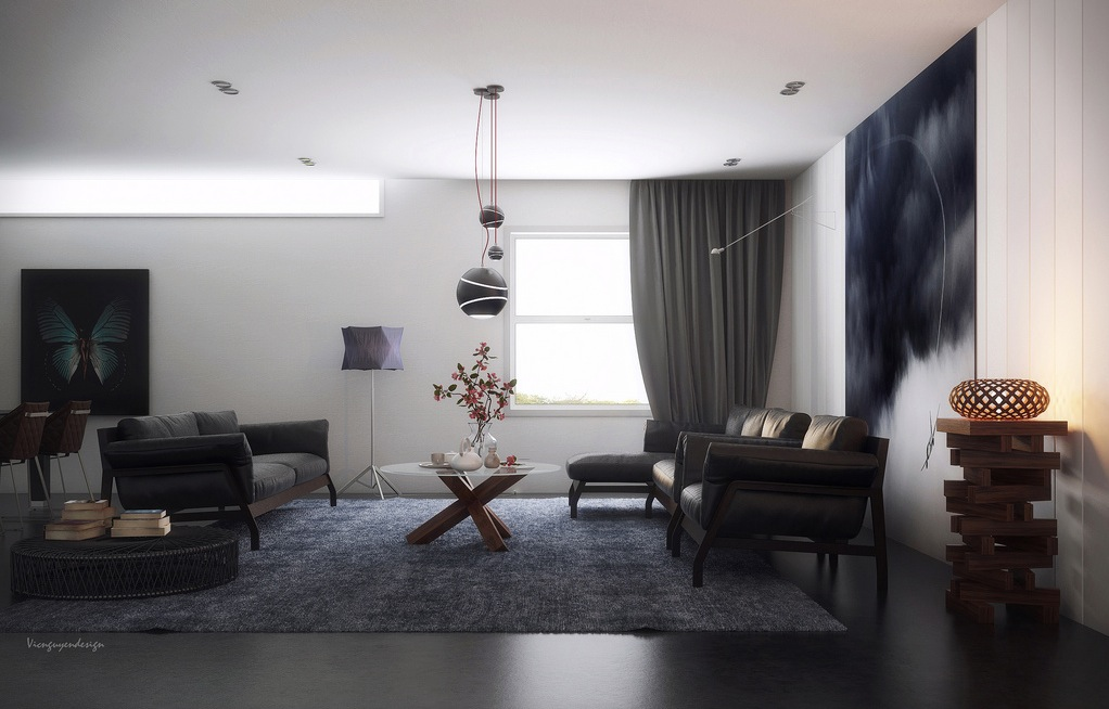 Chic Contemporary Spaces Rendered By Anh Nguyen: Moody Living In Shades Of Gray