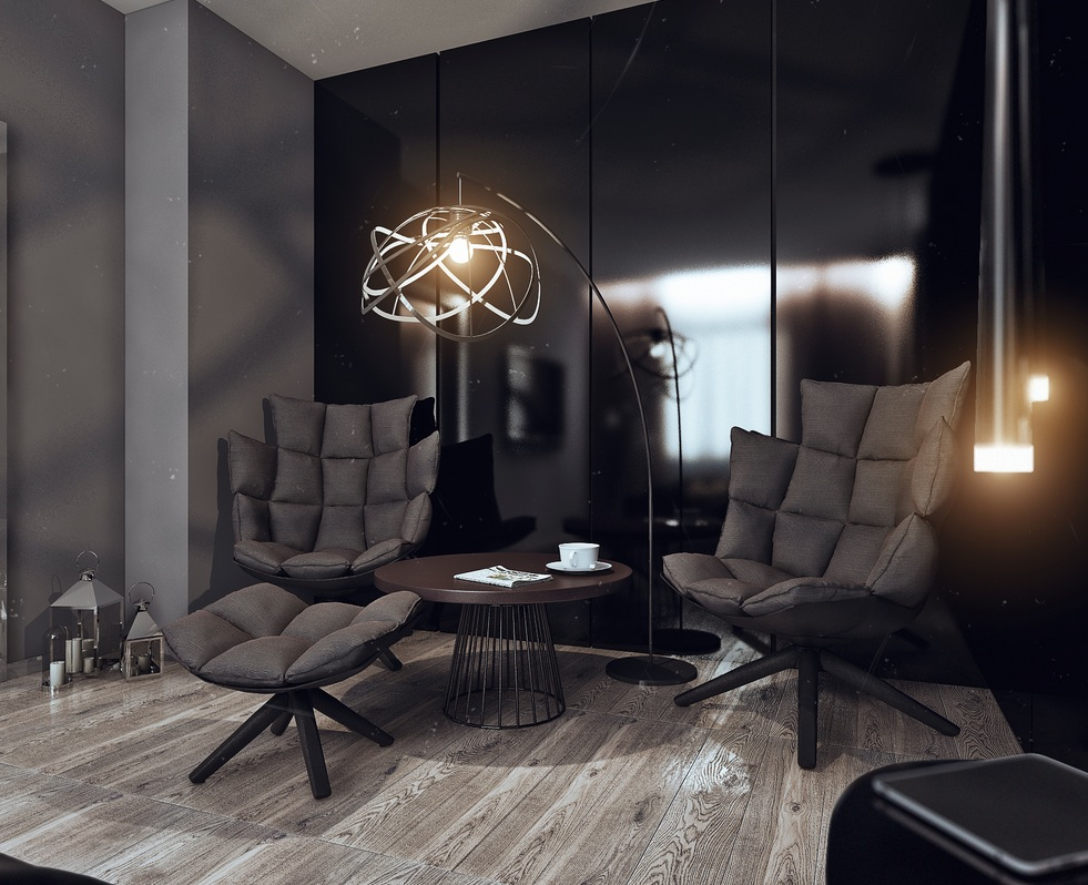 his and hers apartment interior design by angelina alexeeva visualized. Black Bedroom Furniture Sets. Home Design Ideas