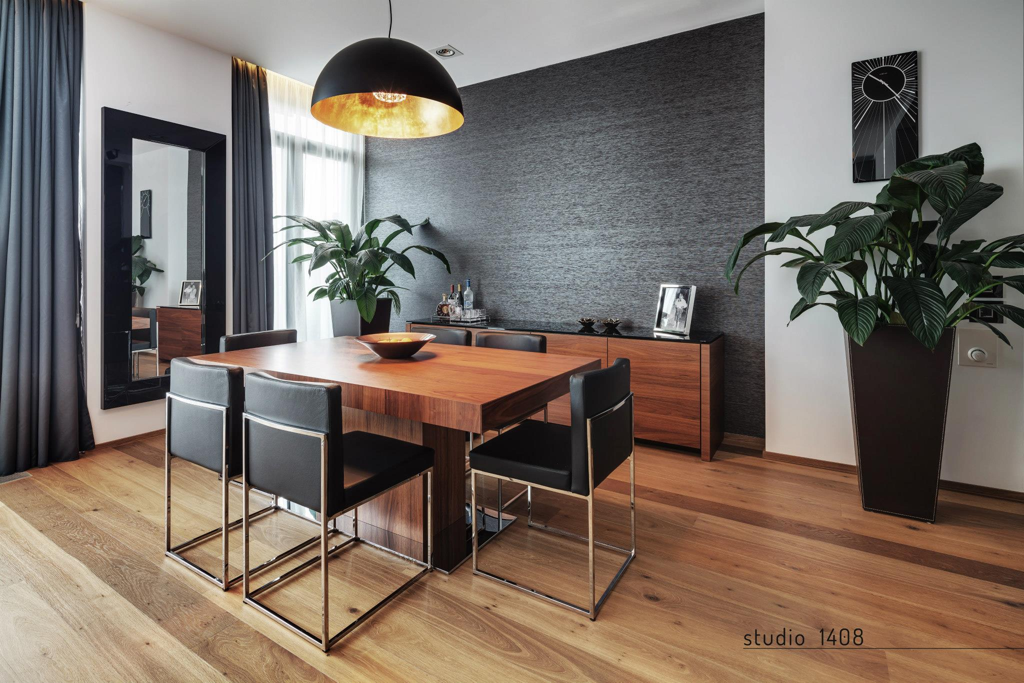 Apartment living for the modern minimalist - Dining room wallpaper accent wall ...