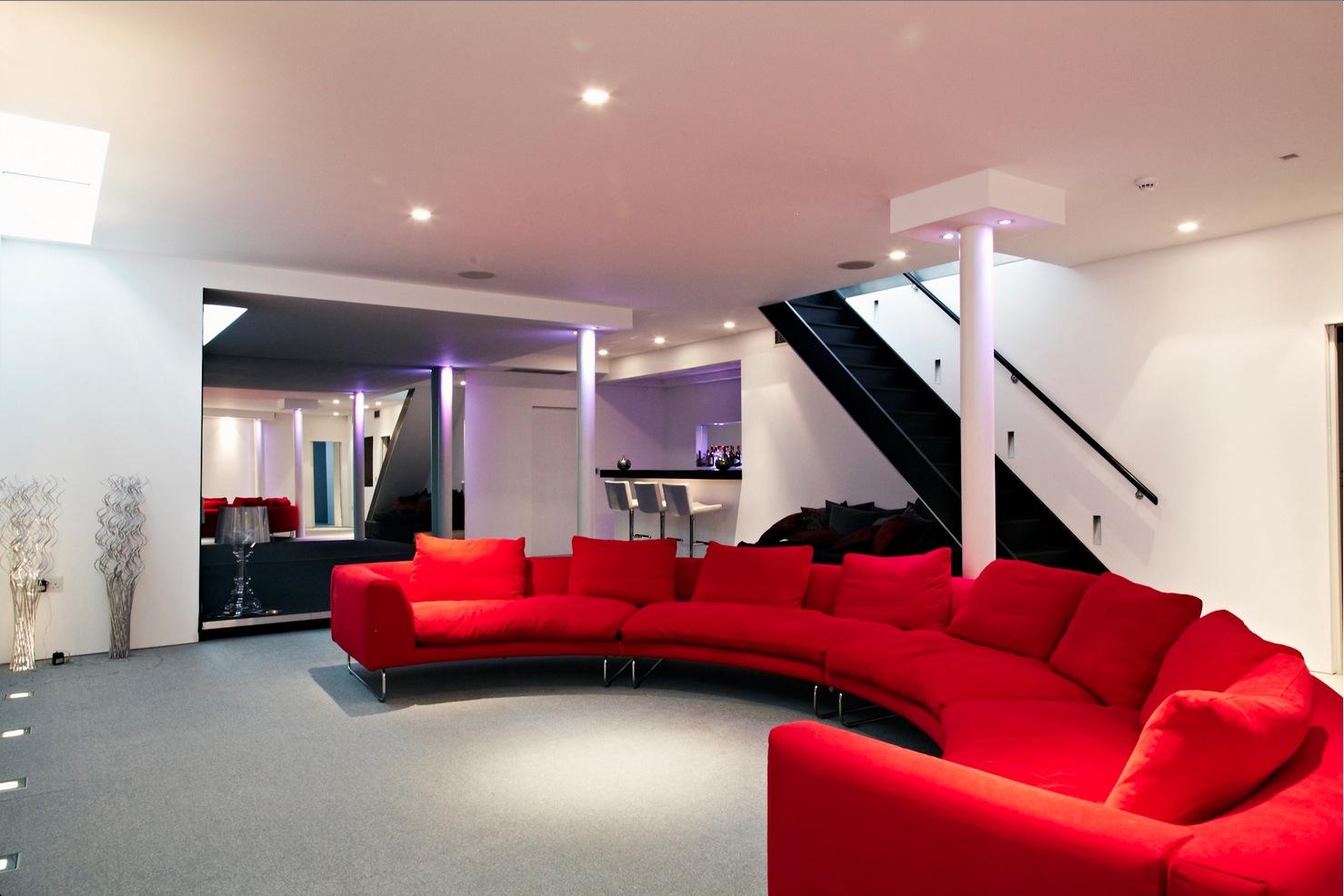 Cinema Room Red Couch Interior Design