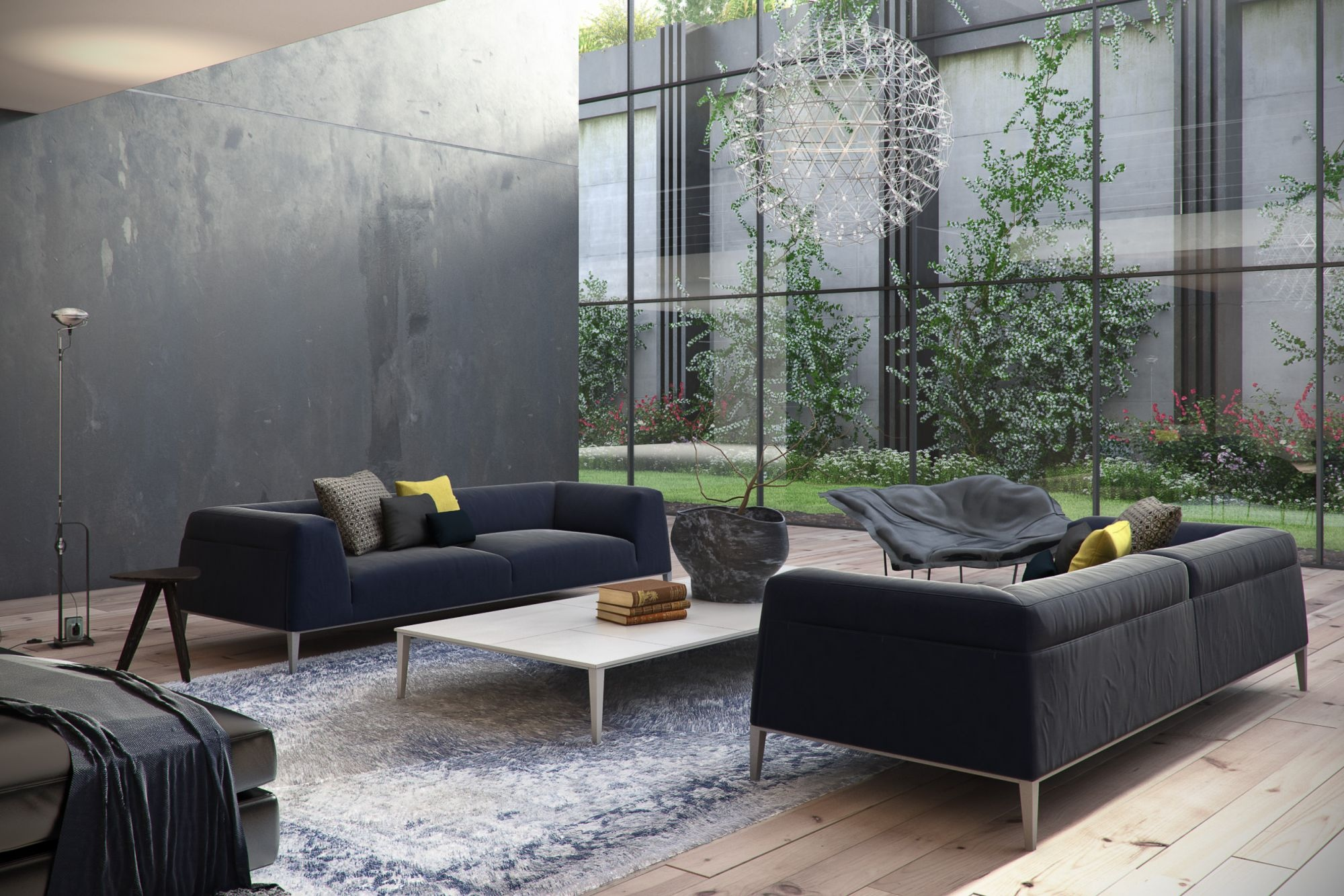 Amazing designer living rooms - Black and gray living room furniture ...