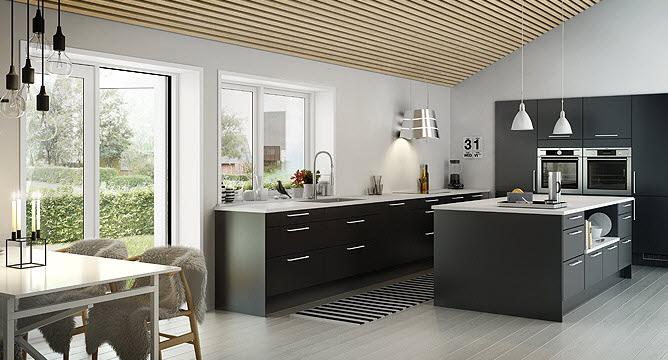 modern black and white kitchen   Interior Design Ideas.