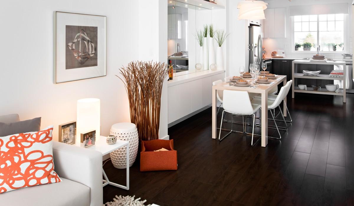 Rich dark wood flooring