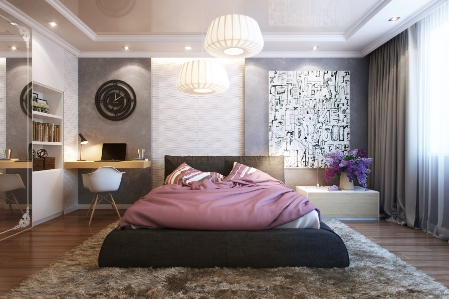 Modern Bedroom Rug: Small Bedrooms Use Space In A Big Way