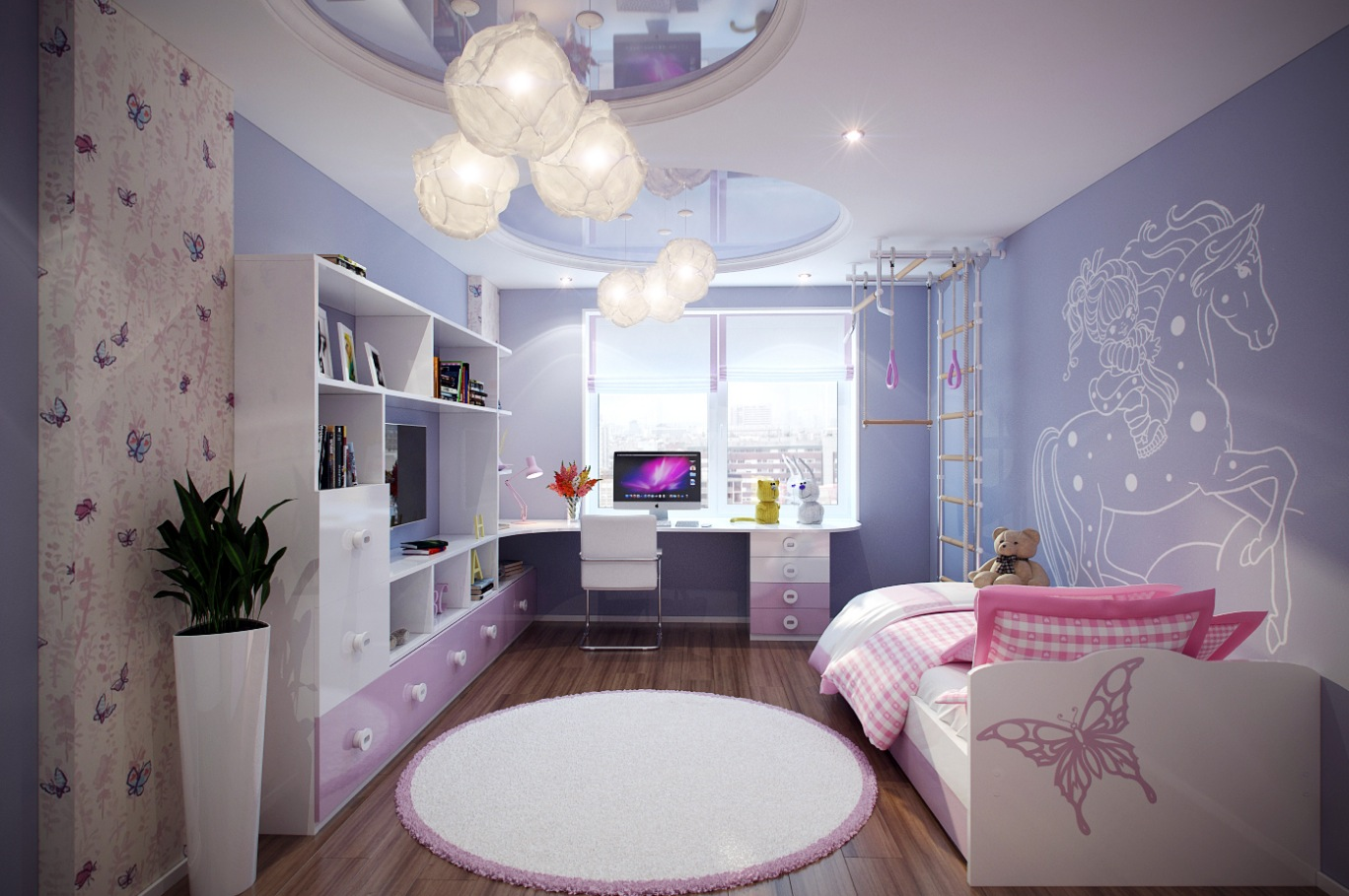 Purple pink kids room | Interior Design Ideas.