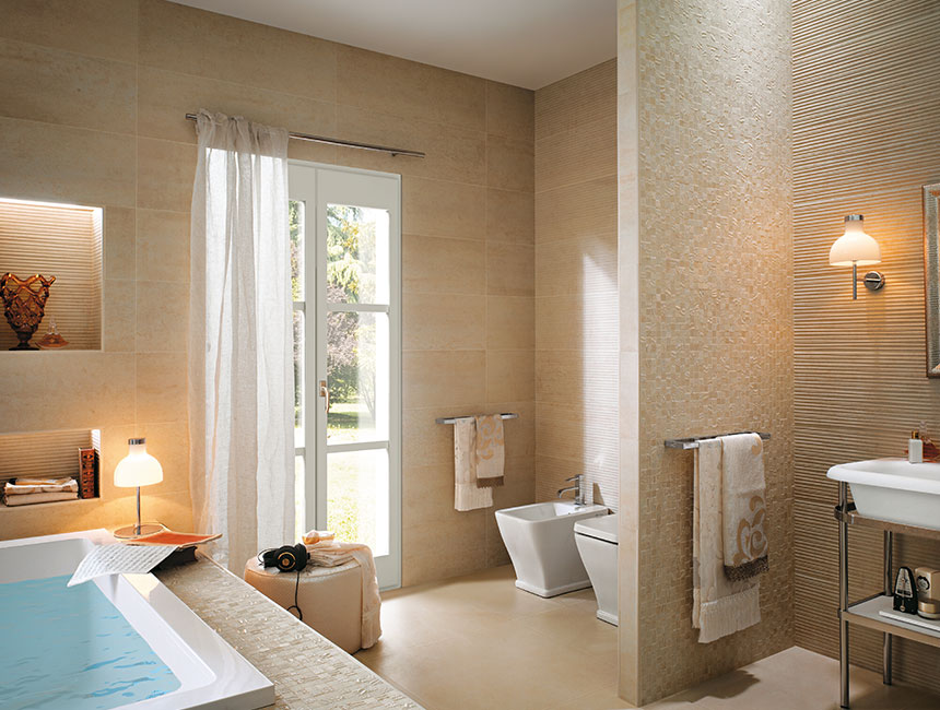 Cream Bathroom Tiles Interior Design Ideas