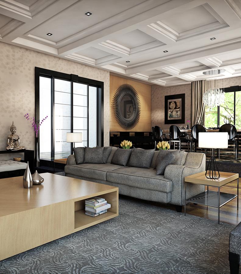 Gray rug three contrasting home designs