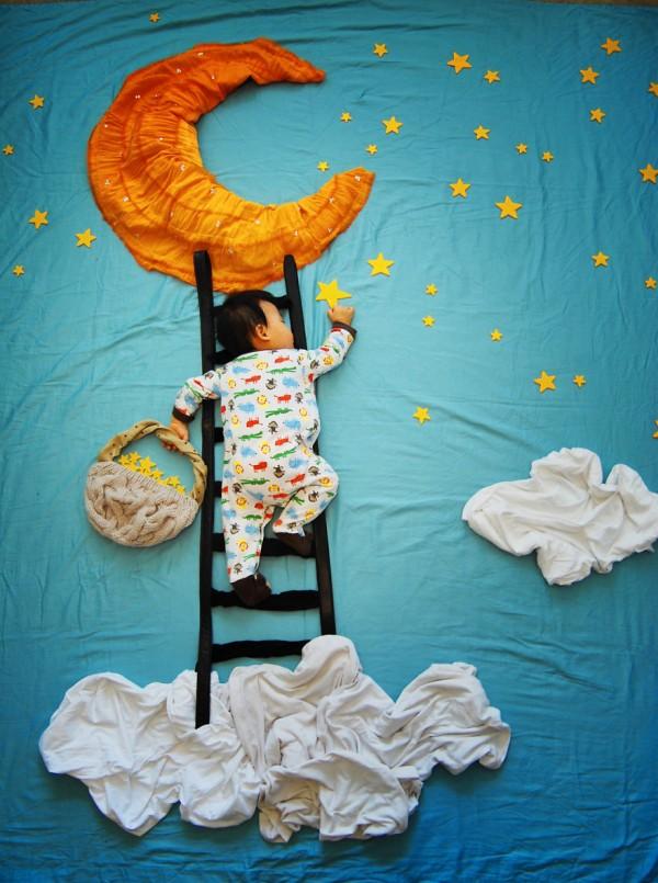 Adorable sleeping baby dreamscapes
