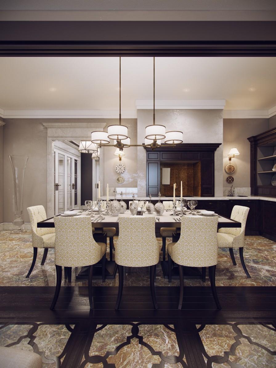 Huge Elegant Dining Room Interior