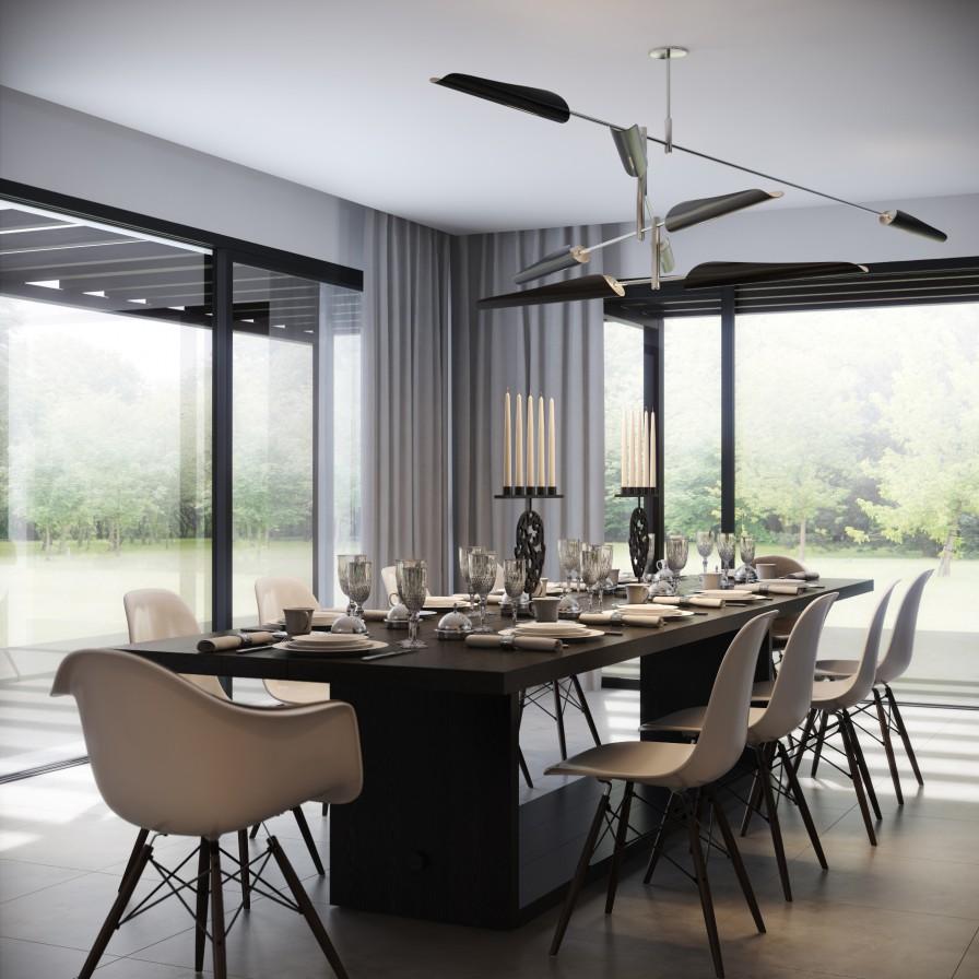 monochromatic dining room interior design ideas. Black Bedroom Furniture Sets. Home Design Ideas