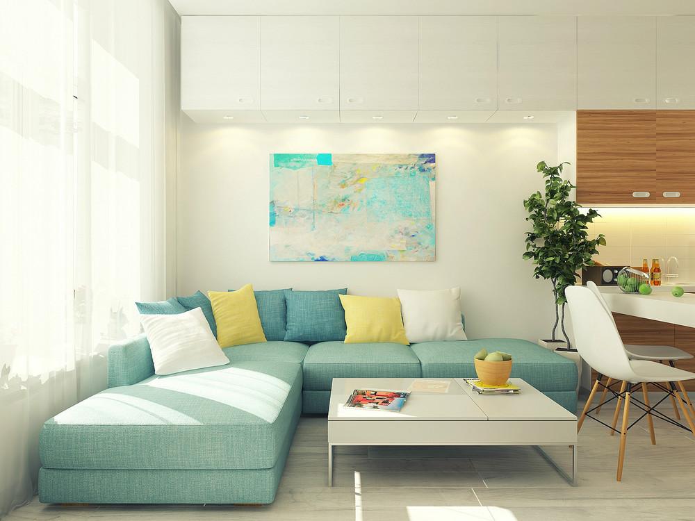 Blue sofa small 29 square meter 312 sq ft apartment design