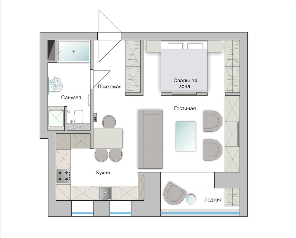 Apartment Design For Young Man & Woman