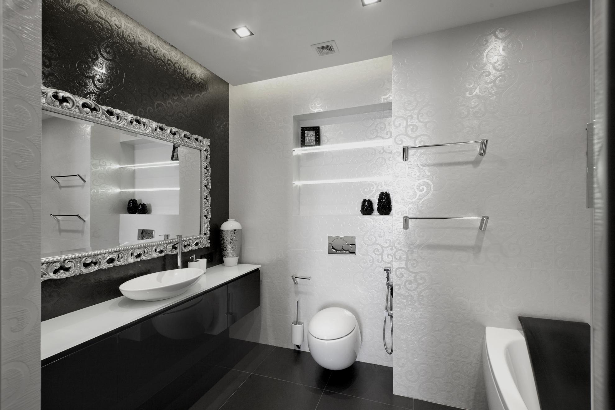 Black White Bathroominterior Design Ideas