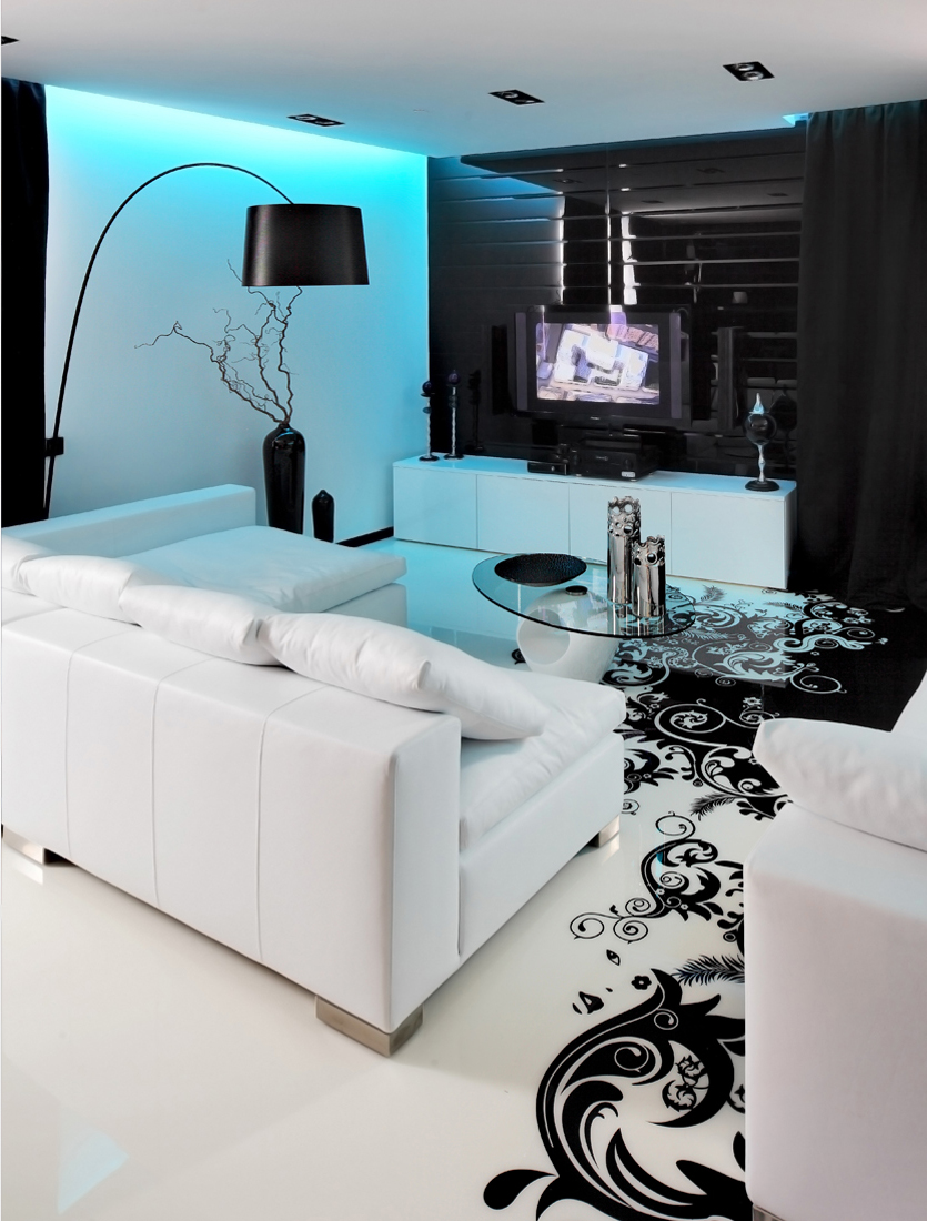 Living Room Decoration Tv: Black And White Graphic Decor