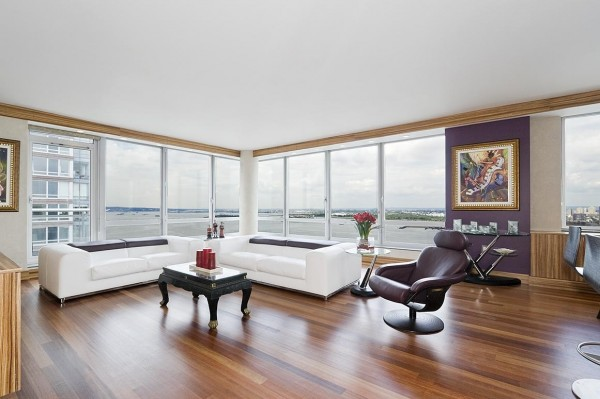 15000 per month will earn you a home in this brazilian cherry floored apartment that boasts
