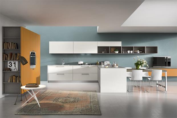 Kitchen Diner Ideas Orange Splashback Cream Units
