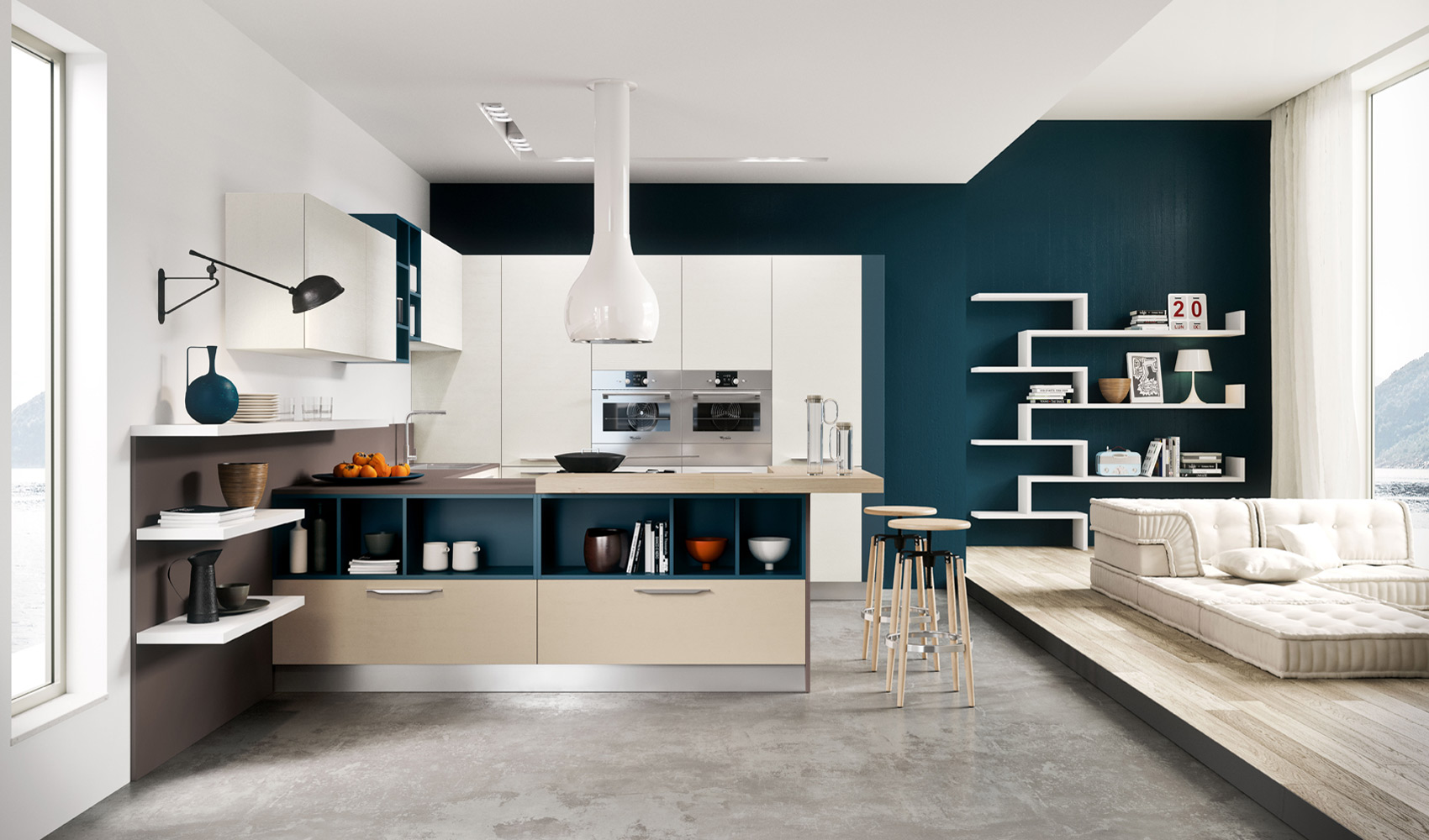Teal White Kitchen Interior Design Ideas