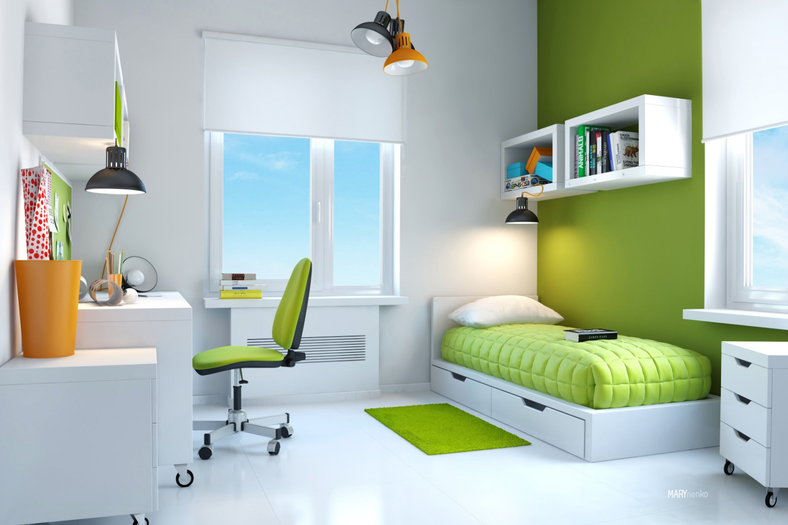 Green White Kids Bedroom Interior Design Ideas