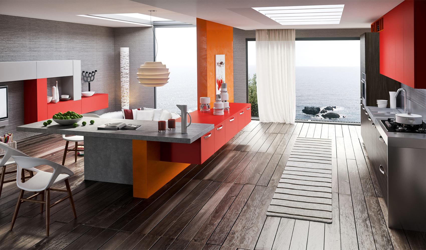red orange gray kitchen decor  interior design ideas
