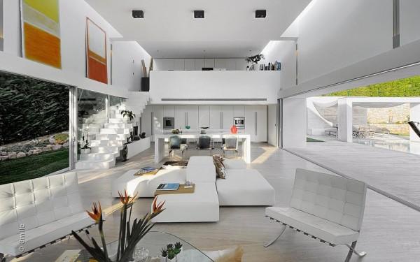 Pops tinh tế của màu cam ấm nóng không gian màu trắng, qua các tác phẩm trừu tượng của nghệ thuật, cây nhà và các phụ kiện nhà.