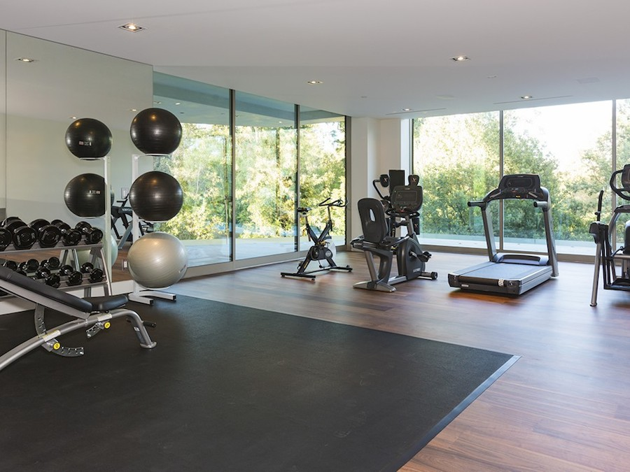 home gym decorating ideas with glass wall | Hilltop Home in Bel Air