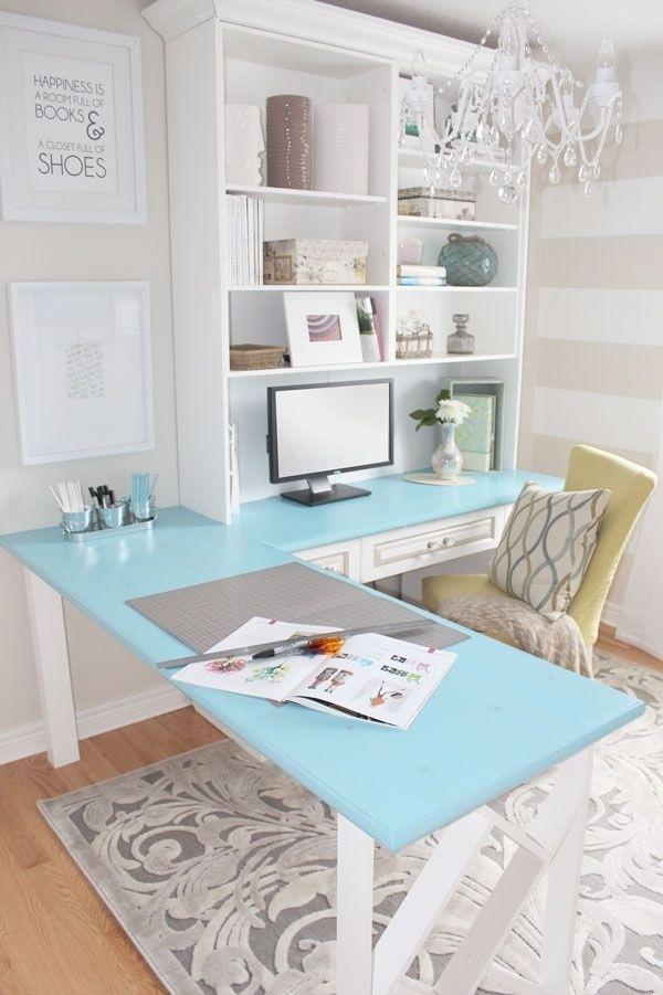 inspiring woman home office ideas | DIY desk traditional white unit | Interior Design Ideas.