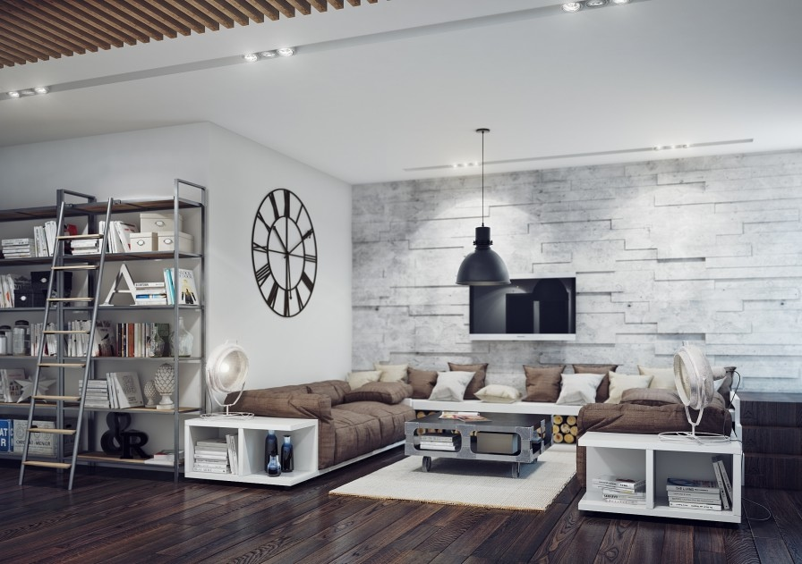 19-Industrial-style-living-room | Architecture - Living ...