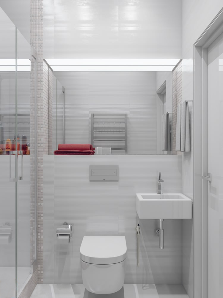 Tiny Home Bathroom Design: Sparkling White Apartment With Hideaway Home Offices