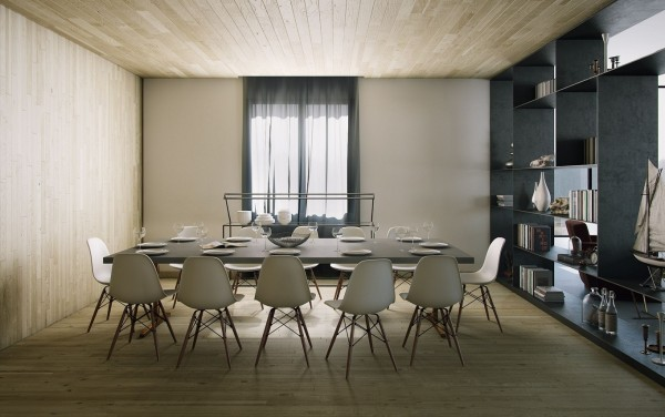 Contemporary chairs do all of the talking in this understated wood clad scheme