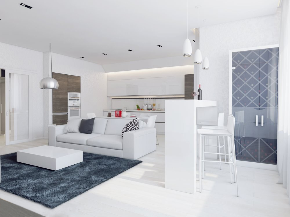 Sparkling White Apartment With Hideaway Home Offices