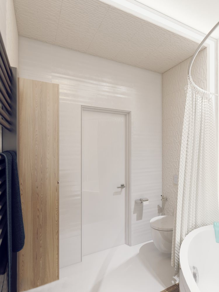White bathroom scheme sparkling white apartment with hideaway home offices